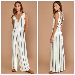 🆕NWT Anthropologie black & white striped jumpsuit